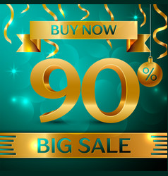 Gold big sale ninety percent for discount vector