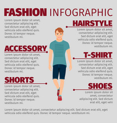 Guy in summer clothes fashion infographic vector