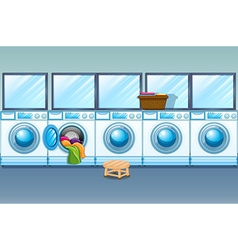 Laundry shop full of washing machines vector image vector image
