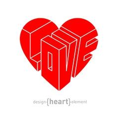 Love in heart original design element vector image