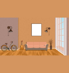 Mockup living room interior with empty frame vector