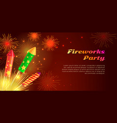 Organization of fireworks party pyrotechnic set vector