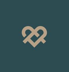 ribbon heart symbol icon logo with shadows line vector image vector image