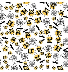 Seamless Pattern with Owl Spider Bat and Web vector image vector image