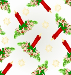 Seamless texture red candle with poinsettia vector