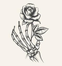 Skeleton hands with rose flower vector