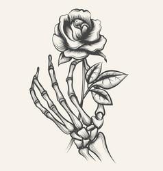 skeleton hands with rose flower vector image