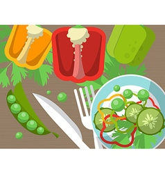 Still life with peppers fork knife and sliced vector image