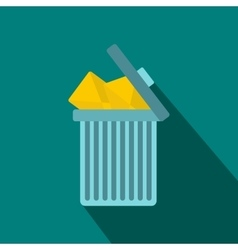 Trash can icon with envelopes icon flat style vector image