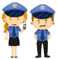 Two police officers in blue uniform vector