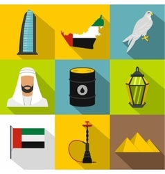 Uae country icons set flat style vector