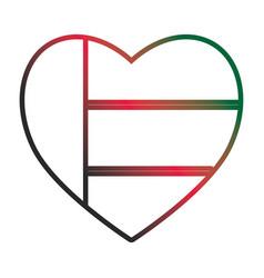 United arab emirates heart shape flag neon lines vector