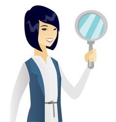 Young asian business woman with magnifier vector