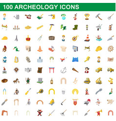 100 archeology icons set cartoon style vector image vector image