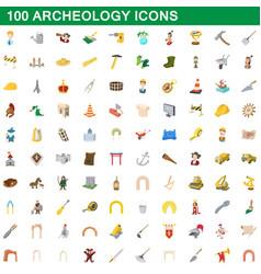 100 archeology icons set cartoon style vector