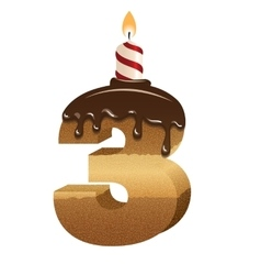 Birthday cake font - number three vector image