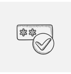 Password with check mark sketch icon vector