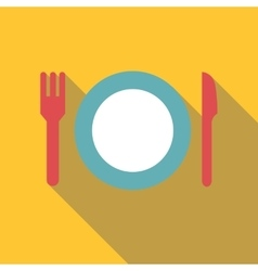 Plate with fork and knife icon flat style vector image