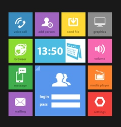 Web color tile interface template vector image
