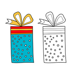 Black and white gift box for coloring book vector