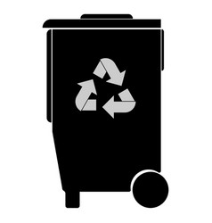 Refuse bin with arrows utilization icon vector