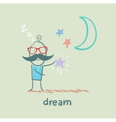 man dreams with the Stars vector image