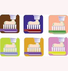 Toothbrush and toothpaste set vector