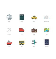 Travel color icons on white background vector