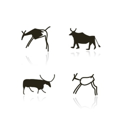 Rock paintings ethnic animals sketch for your vector