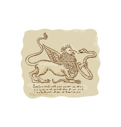 Griffin fighting snake side etching vector
