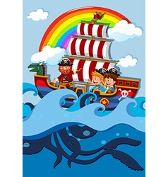 Children on boat with pirate vector