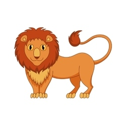 Cute modest cartoon lion with fluffy mane and kind vector