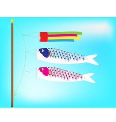 Couple koi windsock billowing on a pole vector