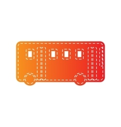 Bus simple sign orange applique isolated vector