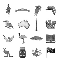 Australia set icons in monochrome style big vector