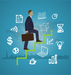 business man step to success vector image vector image