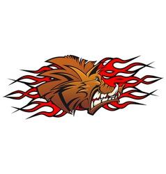 cartoon wild boar head vector image vector image