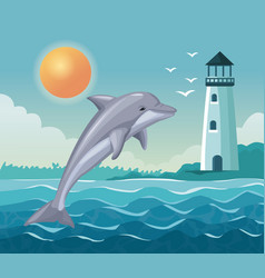 Colorful poster seaside with dolphin jump and vector