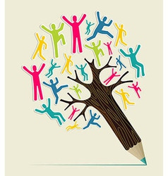 Diversity people concept pencil tree vector image