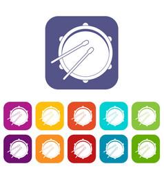 Drum icons set flat vector