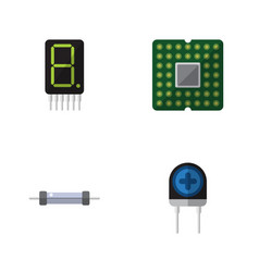 Flat electronics set of resistor display vector