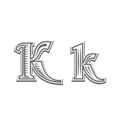 Font tattoo engraving letter k vector