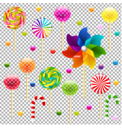 lollypop set with pinwheel vector image