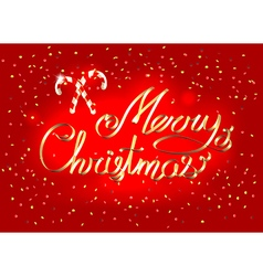 Merry christmas lettering golden ribbon greeting vector