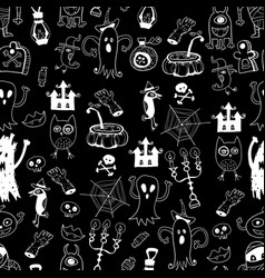 monochrome halloween doodle kids seamless pattern vector image vector image