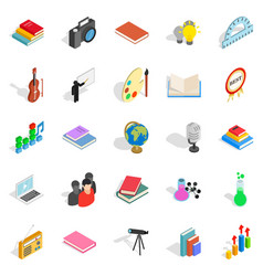 Pamphlet icons set isometric style vector