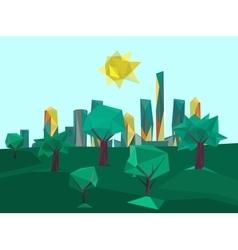 Polygonal cityscape park vector