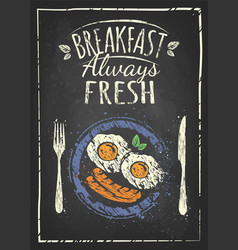 Poster with plates of fried and scrambled eggs on vector