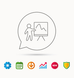 Presentation icon statistics chart sign vector