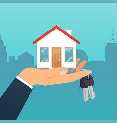 real estate agent holds the key from the home vector image